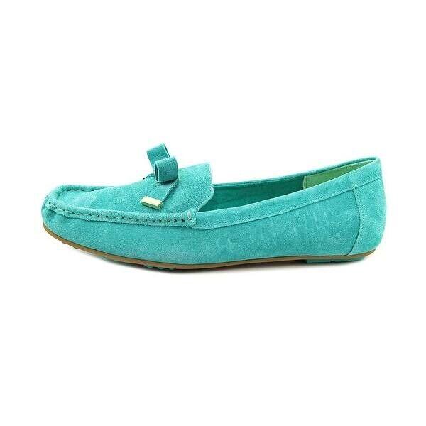 Turquoise Isaac Mizrahi Alia Square Toe Suede Loafer Womens 10 Teal Aqua