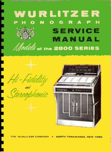 JUKEBOX WURLITZER 2800-2810 MANUALE COMPLETO 1964 juke box manual