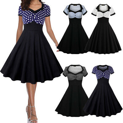 Vintage 50s Retro Rockabilly Swing Dress Party Pinup Cocktail Short Dress Casual