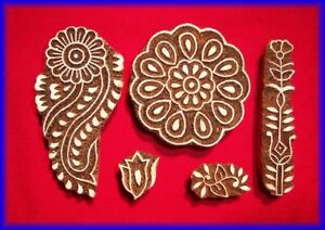 5 Henna Tattoo Stamps Wooden Blocks Floral Model India Ebay