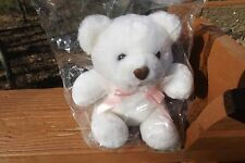 """Blair white soft teddy bear plush toy 7"""" brown heart shaped nose pink mouth bow"""