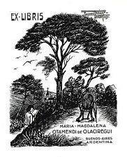 EX-LIBRIS  de Maria-Magdalena OTAMENDI DE OLACIREGUI par Raymond Prévost.