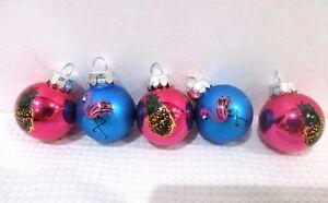 Mini Glass Flamingos /& Cactus Christmas Tree Ornaments 20pc Silver Blue