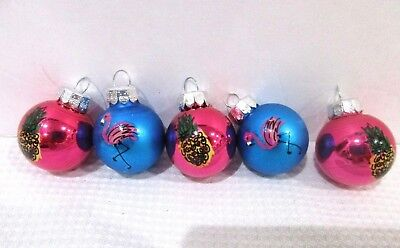"Christmas Flamingo Pineapple MINI Glass Ball Blue Pink Ornaments 1/"" Set of 5"