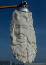 Portrait ,  Waldfee aus Bein geschnitzt Anhänger Silber 925 mit Malachit