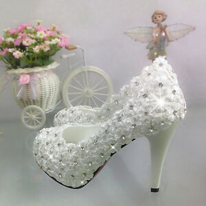 Lace-white-ivory-crystal-Wedding-shoes-Bridal-flats-low-high-heel-pump-size