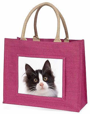 Schwarze und Weiße Katze Große Rosa Einkaufstasche Weihnachten Geschenkidee,