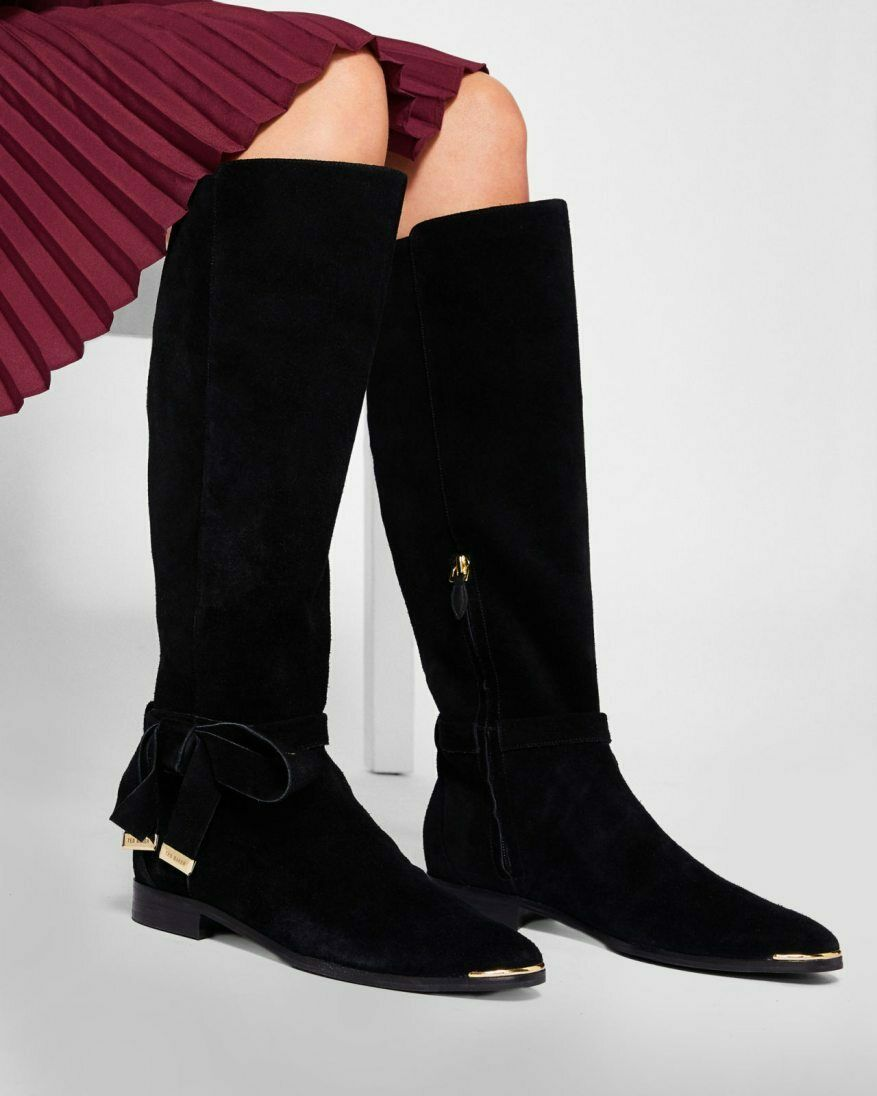 Womens TED BAKER Alrami Black Suede Suede Suede Tall Knee High BootsSize US 5 e8362c