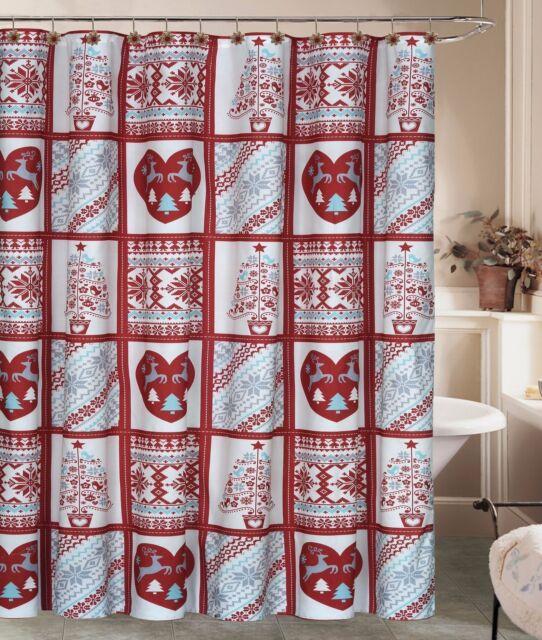 Christmas Rustic Deer Snowflake Shower Curtain 12 Hooks Holiday Winter