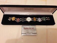 """GRUEN Precision Silvertone 8"""" Semi-Precious Stones Watch old retro vintage as is"""