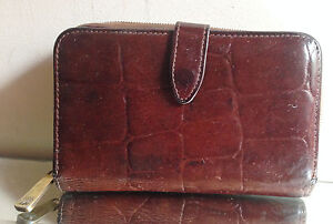 Mulberry-Vintage-Brown-Congo-Leather-3-4-Zip-Around-Wallet-Purse-VERY-NICE