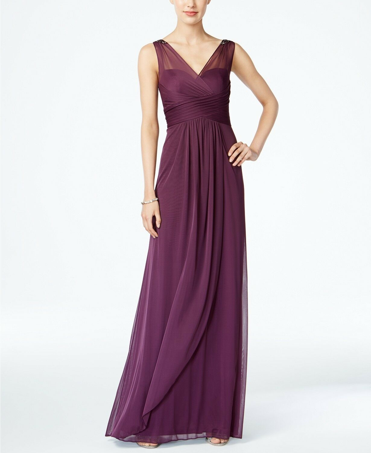 Adrianna Papell Ruched Embellished Gown Currant Size 8