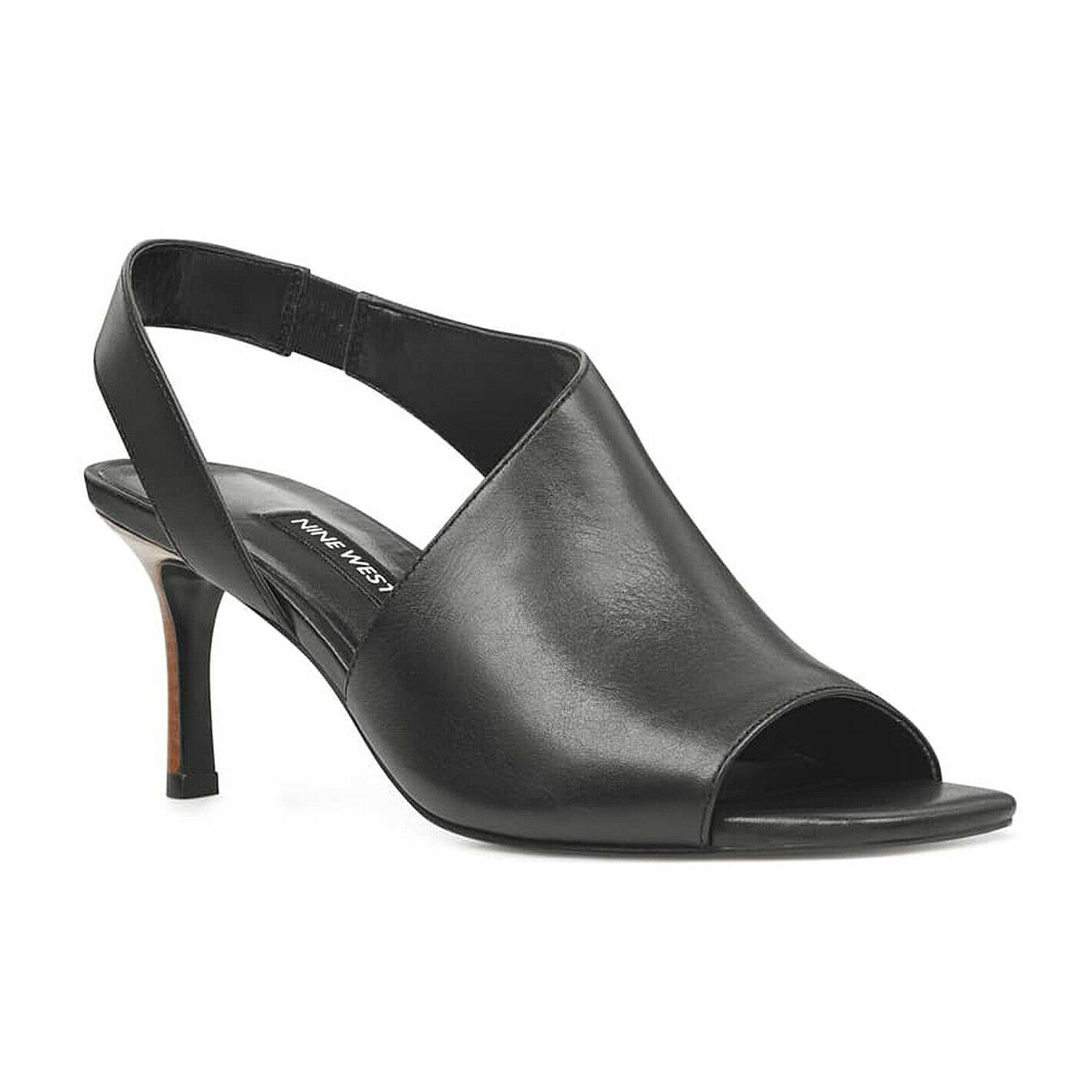 alta quaità NINE WEST Leather Open Toe Toe Toe Peep Toe ORRUS Sandal scarpe 2.8  Heel nero 7.5M NEW  a buon mercato