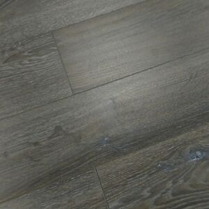 Vintage 12mm Laminate Flooring Wood Brushed Brown Grey Oak
