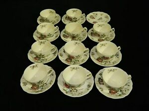 Set-of-11-Vintage-Johnson-Brothers-034-Day-in-June-034-Cups-amp-Saucers-Made-in-England