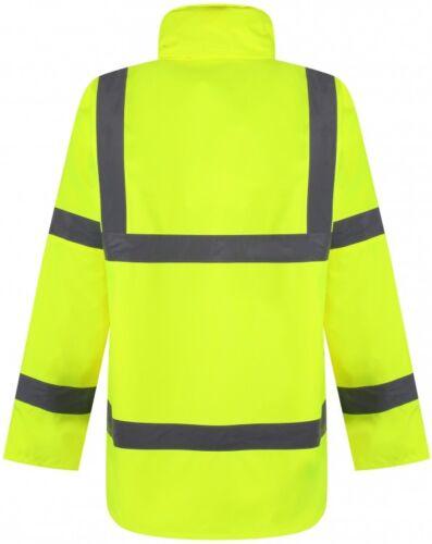 Traega TJK01 Hi Vis Safety Parka Style Waterproof Coat Jacket Concealed Hood