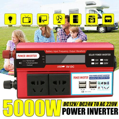 4 USB Port 5000W DC12V//24V to AC220V Power Inverter Digital Modified Sine Wave