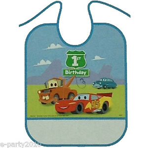 Image Is Loading CARS 1st BIRTHDAY PLASTIC BIB First Party Supplies
