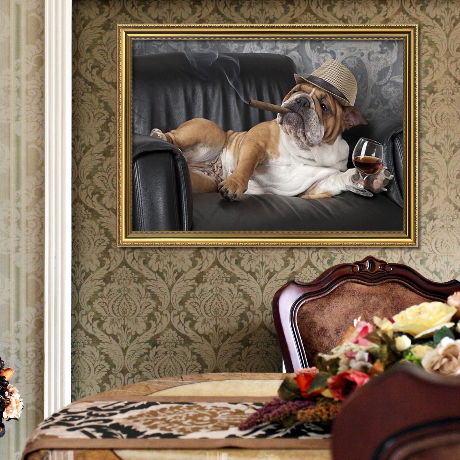 3D Wine Smoke Hat Dog 1 Framed Poster Home Decor Print Painting Art AJ WALLPAPER