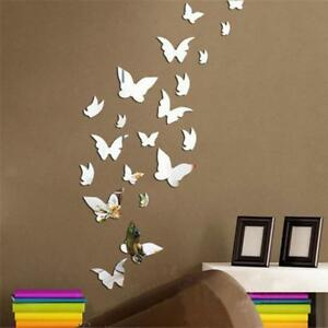 12 x 3D Autocollant Miroir papillons Wall Stickers Home décors