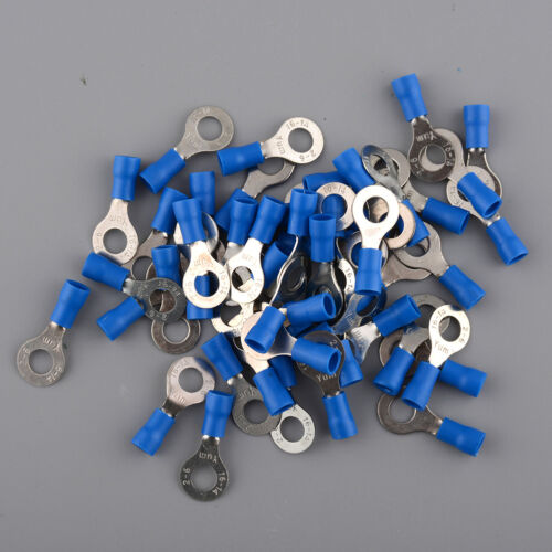 OEM Blue 50pcs 6.4mm Isoliert Ring Kabel Wire Crimp Connector Terminals für