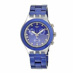 Swatch-Men-039-s-SVCK4055AG-Quartz-Blue-Dial-Chronograph-Plastic-Aluminum-Band-Watch