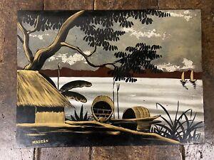 Vietnam-Laque-Ancien-Indochine-Signe-Peinture-Vietnamienne-Art