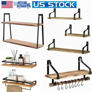 4-Style-Floating-Shelves-Wood-Wall-Mounted-Shelf-Metal-Display-Rack-Storage-US