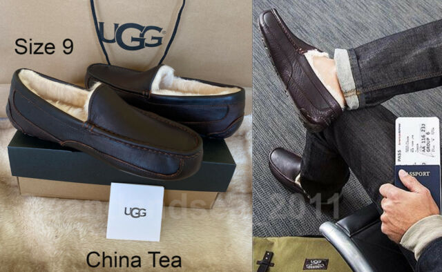 NIB UGG Ascot Leather Moccasin Loafers Slippers Mens Size 9 China Tea #5379