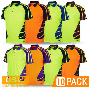 10 X HI VIS UNISEX WORK COOL BREATHABLE COOL DRY SAFETY POLO TRADIES SHIRTS
