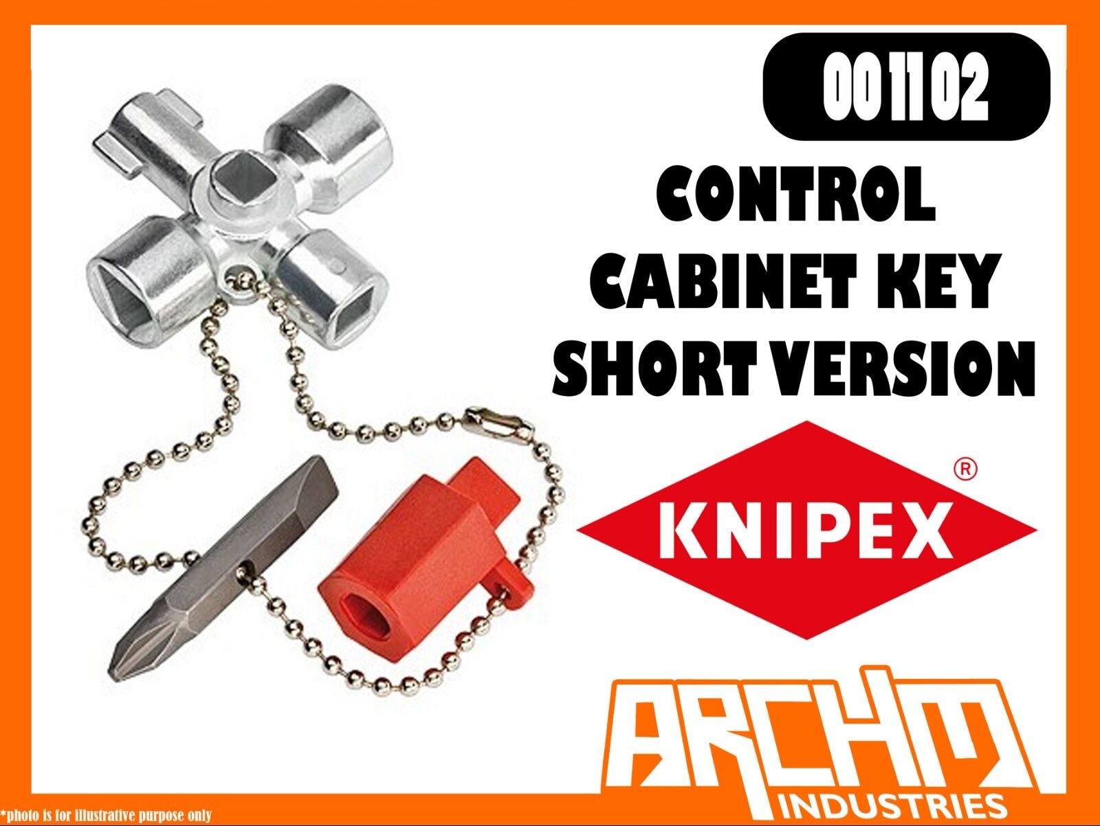 KNIPEX 001102 - CONTROL CABINET KEY - SHORT VERSION - 44MM - SHUT OFF SYSTEMS