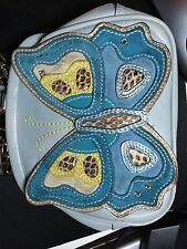 Coach Butterfly Leather Purse Bag Satchel Limited Edition Blue Small Wristlet