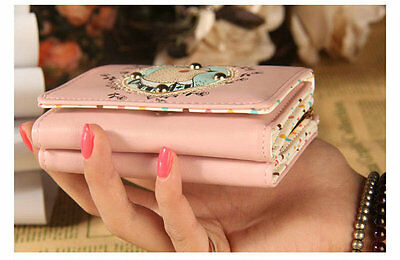 New Lady Cute Short Wallet PU Leather Coin Pouch Change Purse Checkbook Trifold