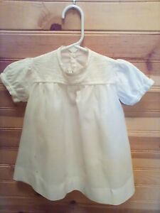 VINTAGE-ANTIQUE-HANDMADE-WHITE-TODDLER-COTTON-DRESS-RARE-FIND-EARLY-1900-039-S