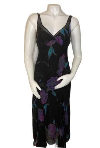 womens size 6 black floral 100% silk Jones new yor