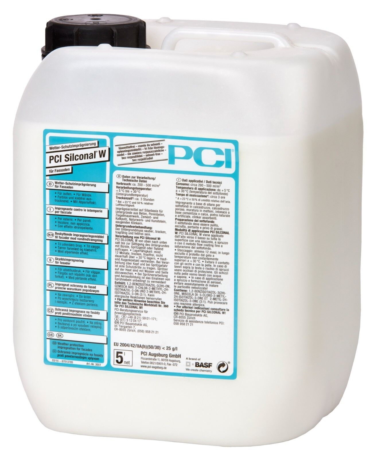 PCI Silconal W 5 L Wetter Schutz-Imprägnierung Fassade Hydrophobierung Putz