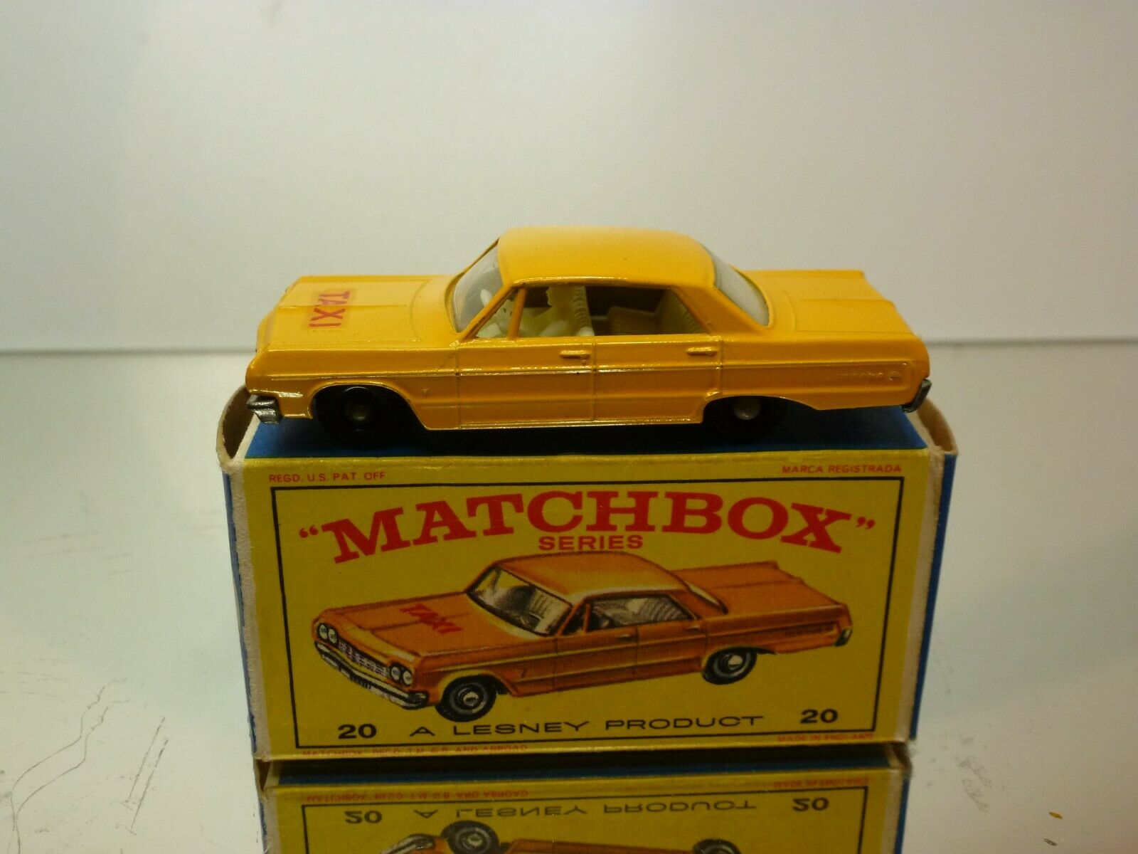 LESNEY MATCHBOX 20 CHEVROLET IMPALA TAXI-CAB - YELLOW - EXCELELNT IN BOX