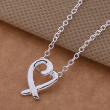 """Women Fashion Jewelry 925 Sterling Silver Plated Small Heart 18"""" Chain Necklace"""