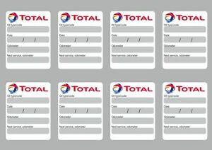 Details About 8x Total Oil Change Service Reminder Stickers Decals Adhesive Labels Die Cut