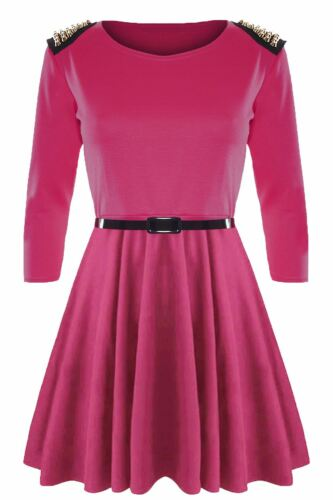 Donna Maniche A 3//4 E BORCHIE ORO spikes BELTED Svasato Skater Dress Plus Size