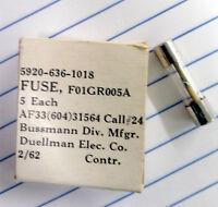 Bussman F01gr005a Fuse 1/200 Amp 5ma Fast 250v Agx Box Of 5 - In Orig. Box