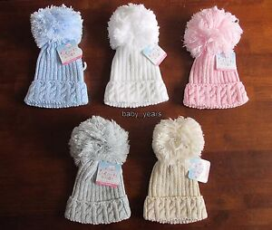 BABY KNITTED POM POM HATS BOBBLE WHITE PINK BLUE GREY BOYS GIRLS ... e9592da350c