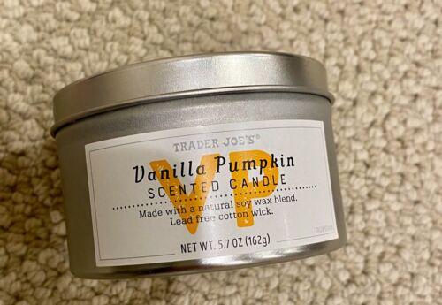 New Trader Joe/'s Vanilla Pumpkin Scented Candle 5.5 oz Lead Free Cotton Wick