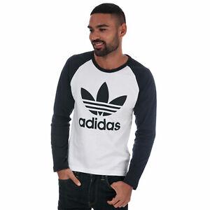 Mens-adidas-Originals-Trefoil-Long-Sleeve-Logo-T-Shirt-In-White-Navy