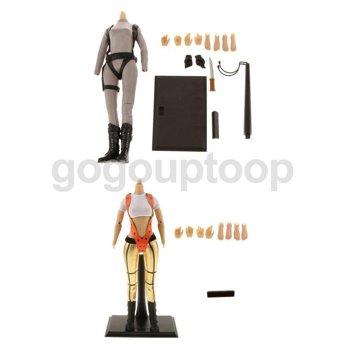 Set of 2 1/6 Female Action Figure Body w/ Clothes Stand for Hot Toys Phicen Head