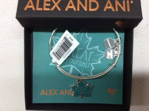 Alex and Ani BeLeaf in Yourself Bangle Bracelet Shiny Silver NWTBC