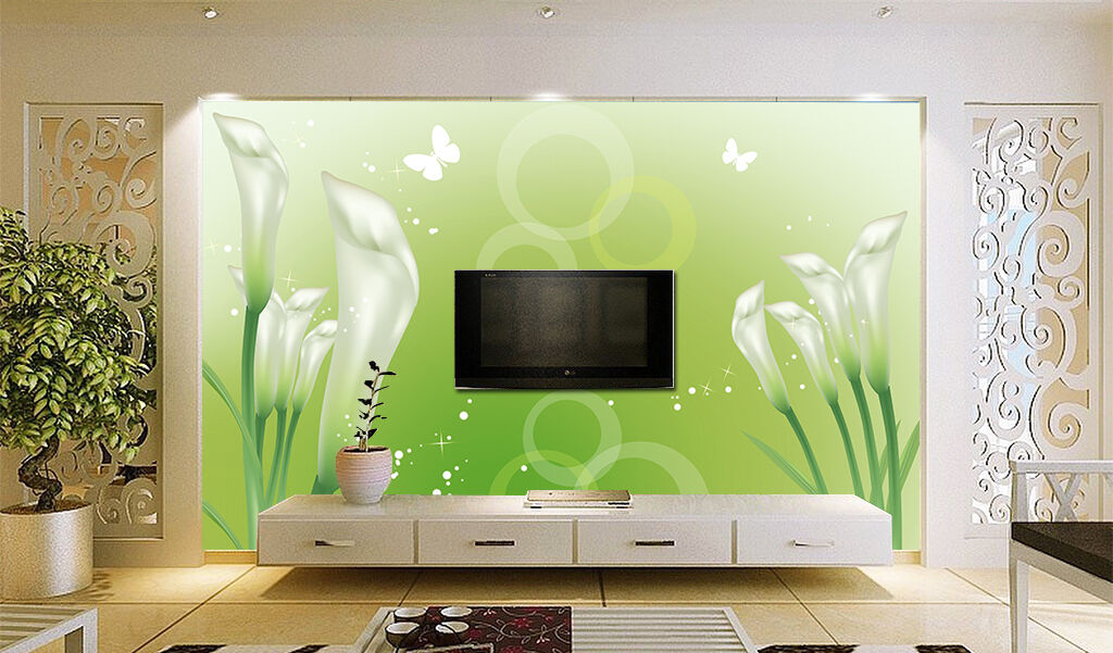 3D White Morning Glory 5 Wall Paper Decal Dercor Home Kids Nursery Mural  Home