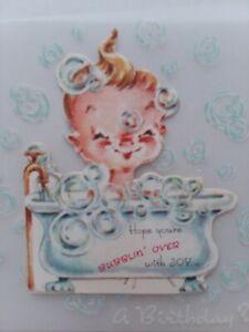 UNUSED-Vtg-GIRL-in-BUBBLE-Bathtub-BIRTHDAY-Little-Ones-GREETING-CARD-w-Envelope