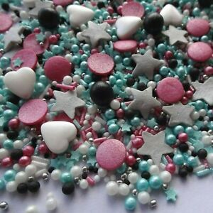 Edible Pink/&blue heart/&stars Mix Sprinkles  Cake Cupcake Toppers Decorations