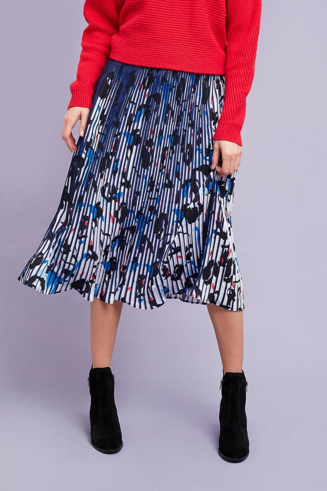 Seen Worn Kept Midi Skirt Leopard bluee Laurene Pleated 2 xs small anthropologie